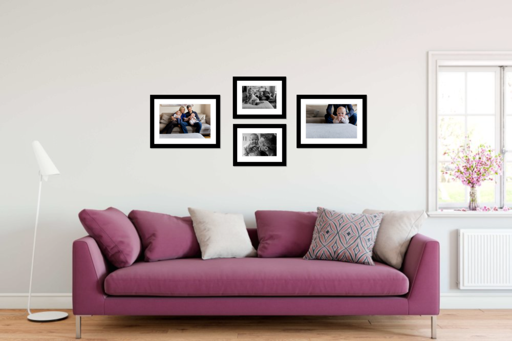 Sample living room with wall art from a documentary family photo session.