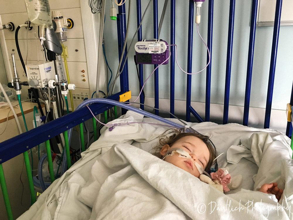 Hazel in hospital bed