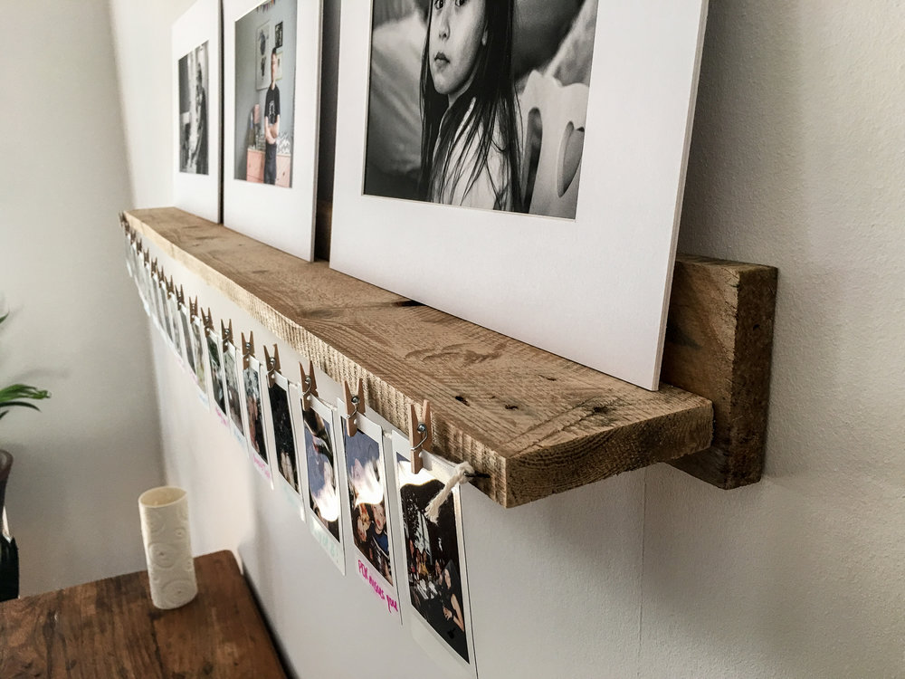 Wall shelves made from free pallet planks.