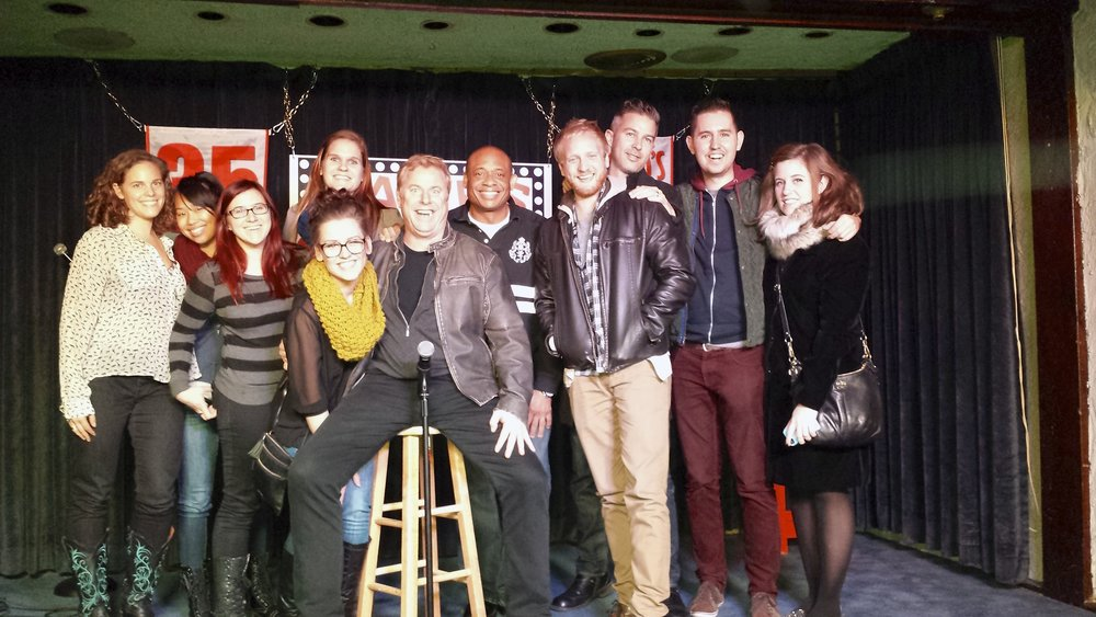 Chicago Portfolio School stand-up class on stage at Zanies on Wells with Michael and his frined comedian Jimmy Shubert.jpg