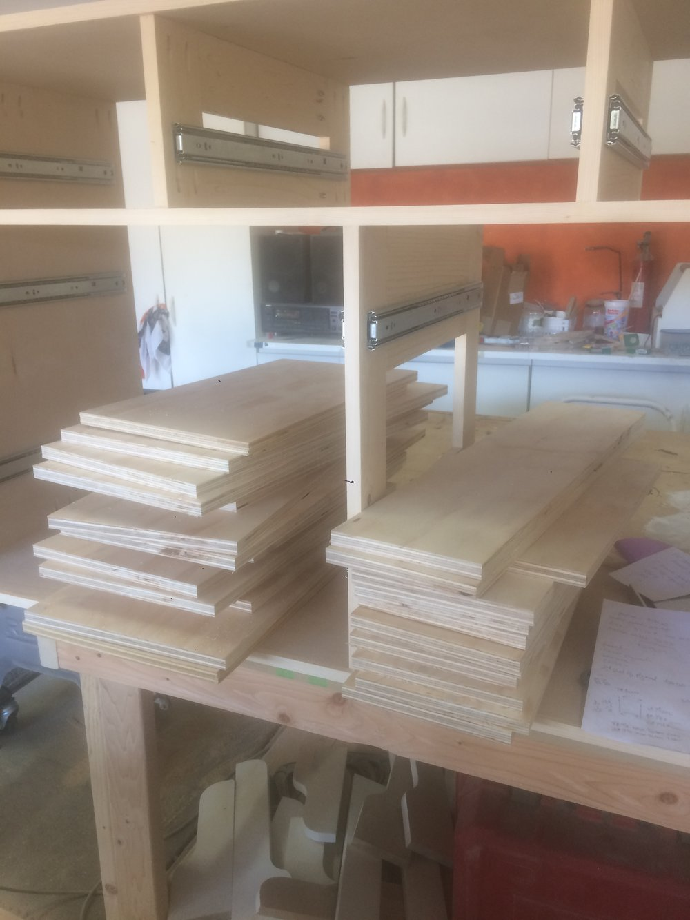 Cut pieces for the drawer boxes.
