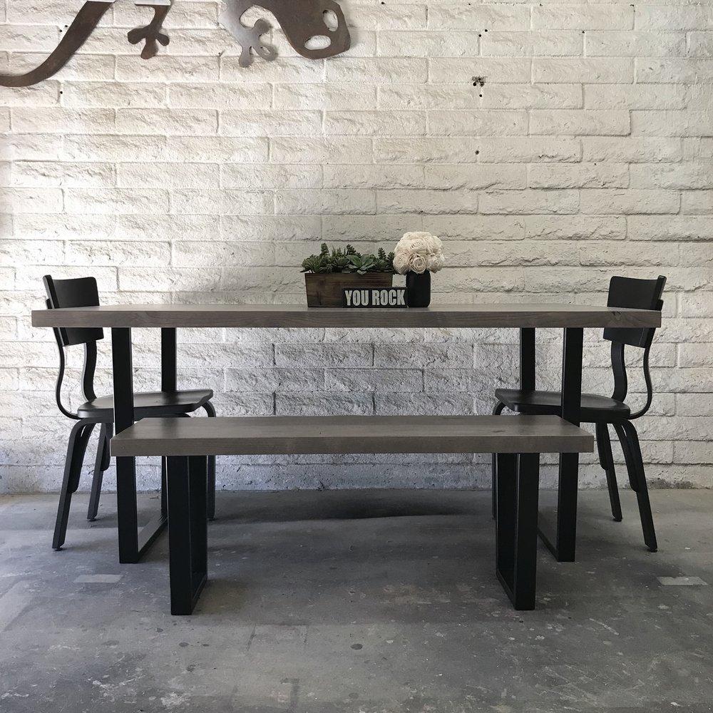 Knotty Alder and Metal Dining Set