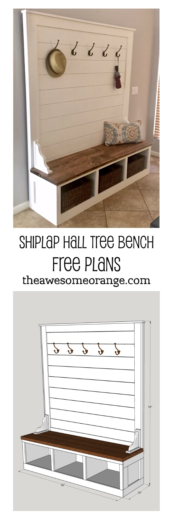 Pinterest Pin - Shiplap Hall Tree Bench.jpg