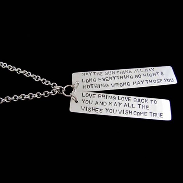 """""""May the sun shine all day long everything go right & nothing wrong may those you love bring love back to you and may all the wishes you wish come true """". Irish Blessing sterling silver pendant on a 30"""" on handmade chain"""