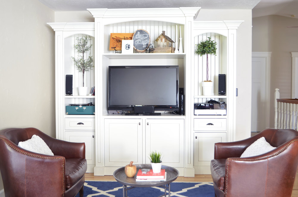 White Entertainment Center | Lewis Custom Woodwork | Custom Cabinets | Northern Utah