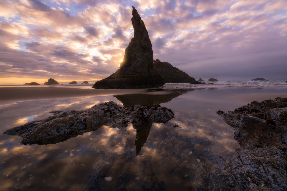 Bandon Sea Stacks at sunset.