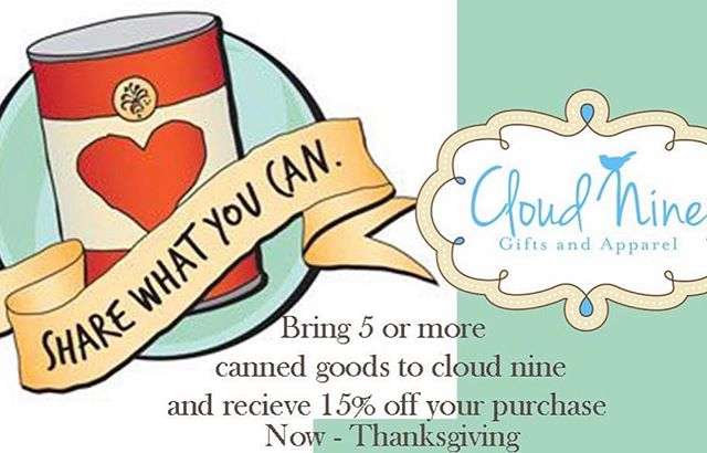 When you give, you receive 15% OFF @cloudninealexcity ! #giveback #givethanks #shopthecloud #alexcity #mainstreetac #downtown