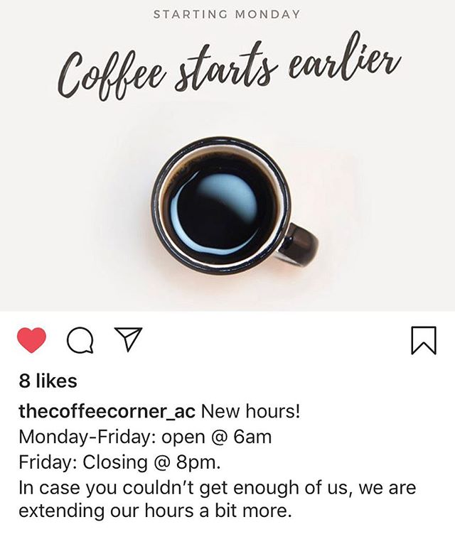 Did you hear the good news? @thecoffeecorner_ac has NEW EXTENDED hours 🙌🏼 #mainstreetac #downtown #thecc #extendedhours