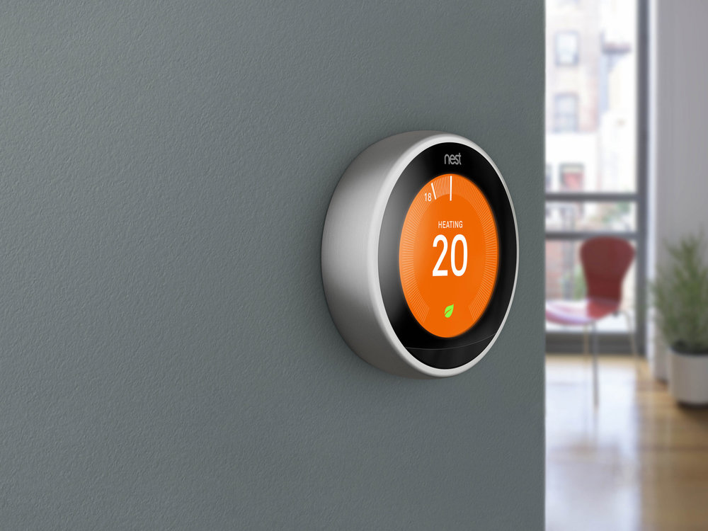 Smart Heating Control Nest Thermostat Grey wall Modern apartment living room