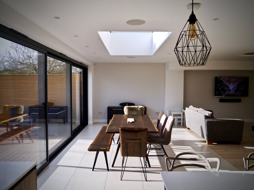 Esher Modern Dining Space Ceiling Speakers Sonos Connect Amp LUXE SMART HOMES