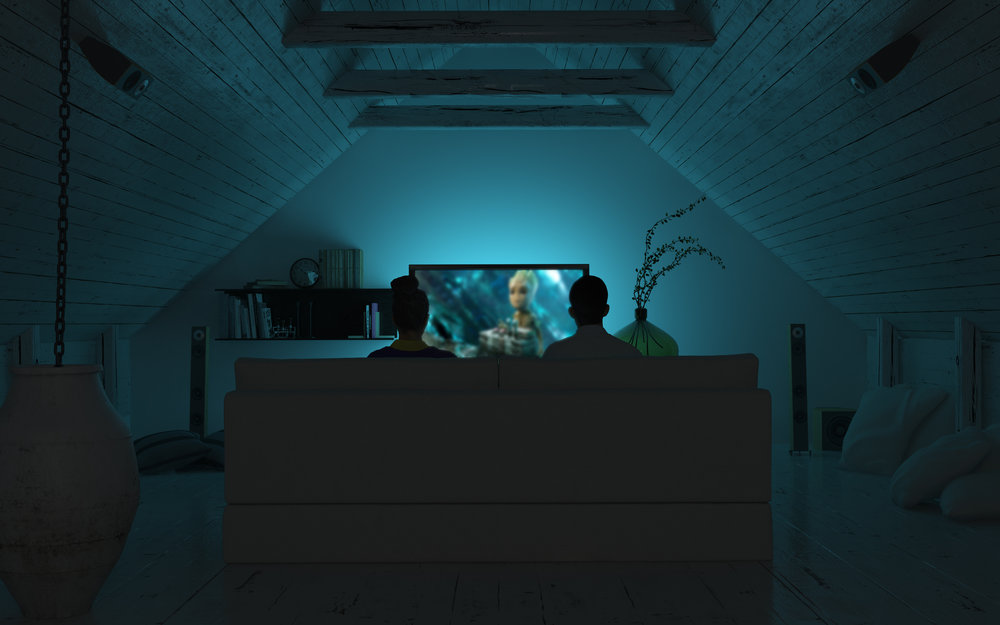 Home-Cinema-Couple-watching-film-in-Turquoise-Green-scene