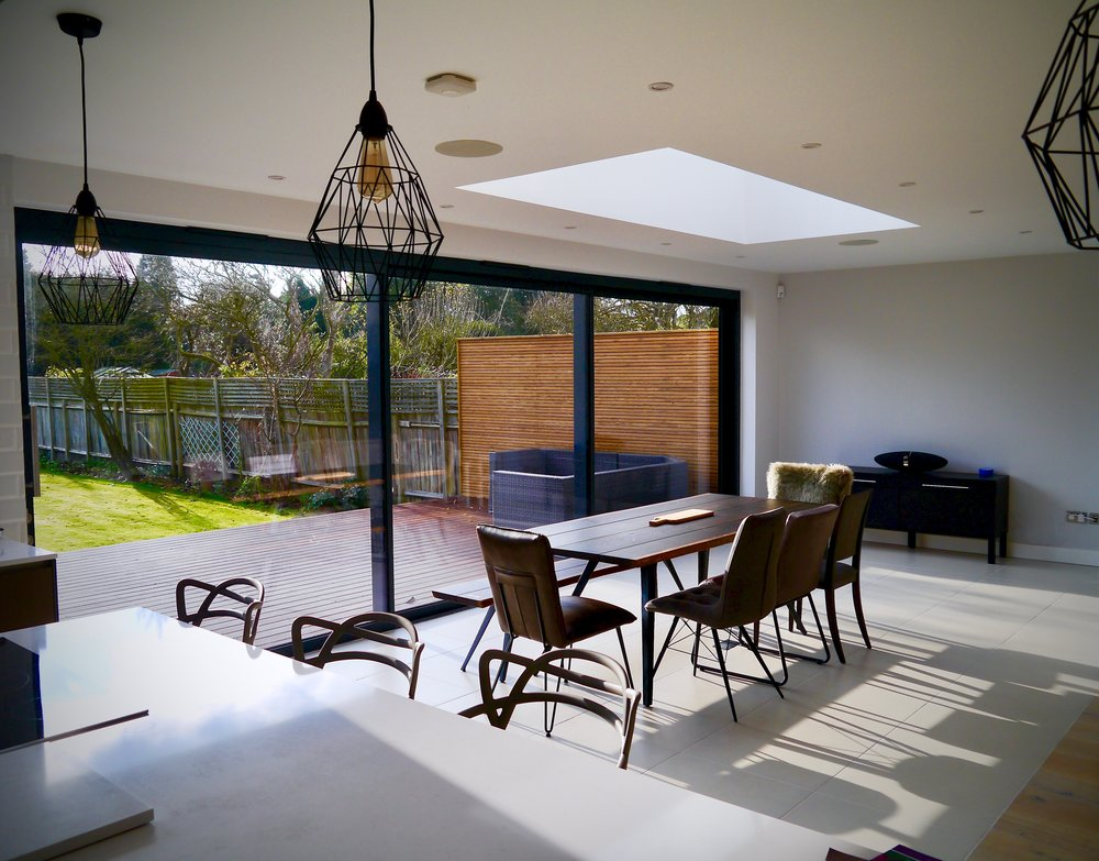 Esher Modern Dining Space Ceiling Speakers Sonos Connect Amp Facing Garden LUXE SMART HOMES