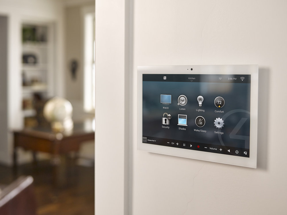 Smart_Home_Security_Control4_In_Wall_Touch_Screen_White_Wall_Hallway_Looking_At_Living_Room_Wooden_Floor