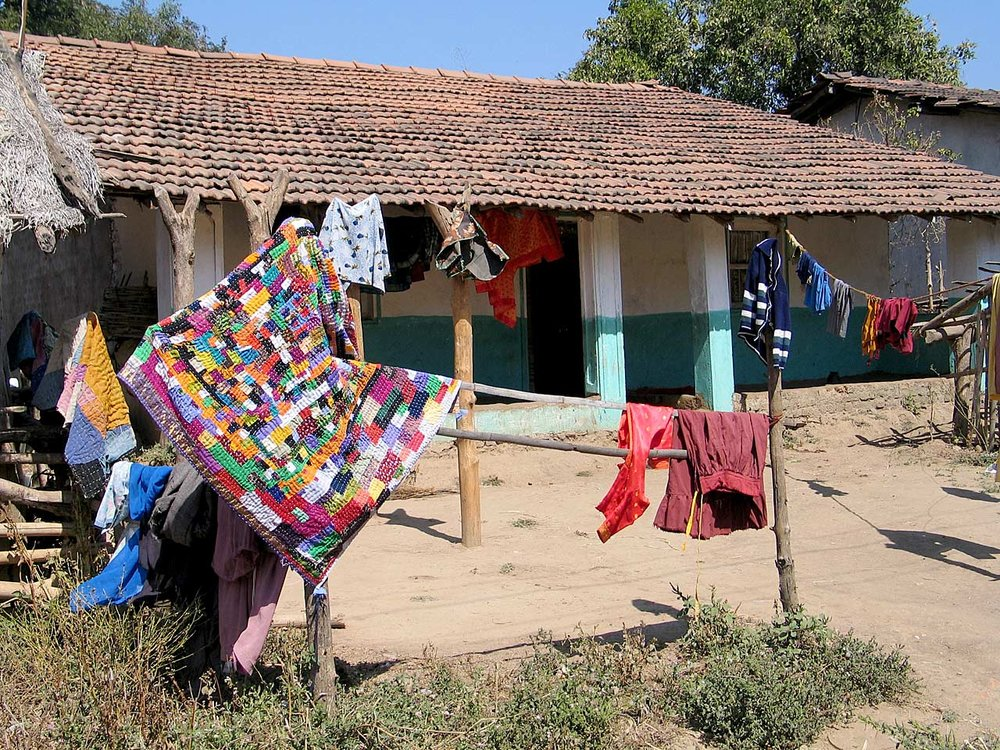 Quilt drying in the sun, Mainalli village