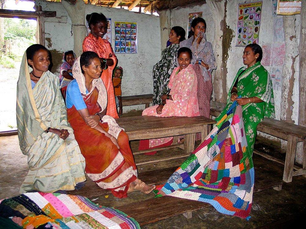 Quilters meeting, Gunjavati village