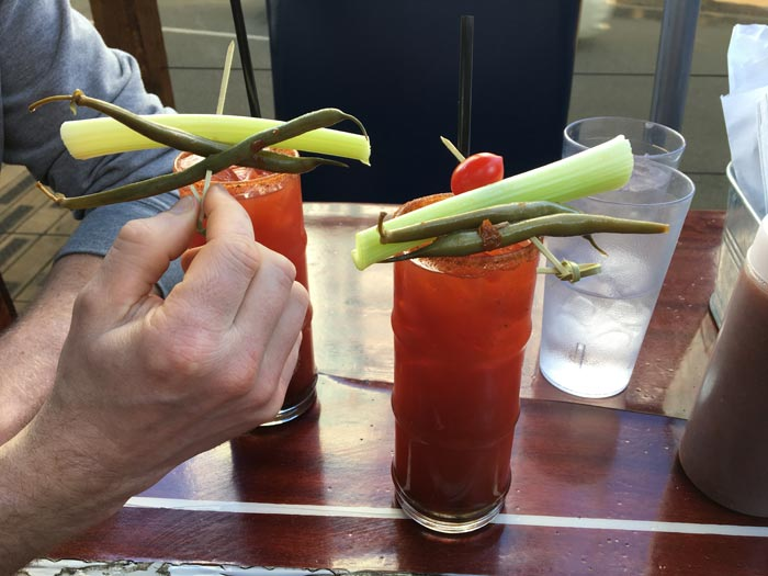 Caesars! (Don't look up Clamato Juice.)