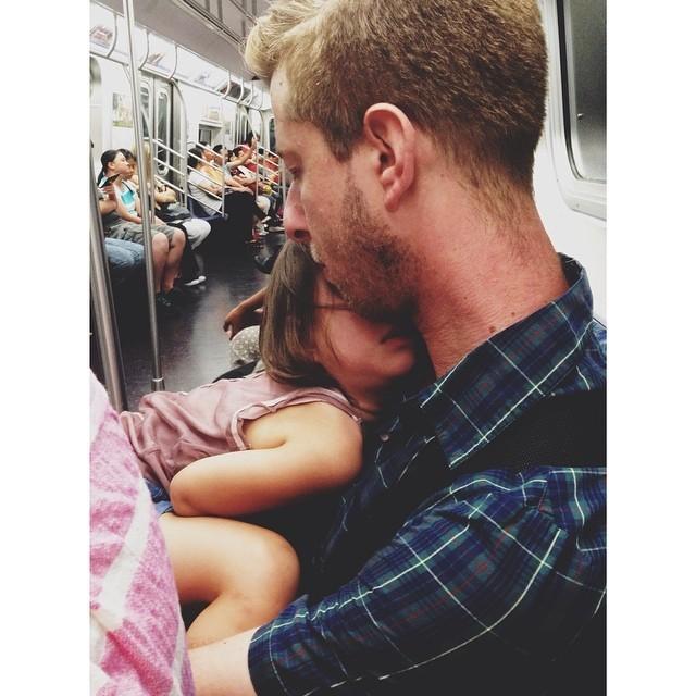 Sneaking a NYC subway moment #nyc #nycsubwaymoment #fatherdaughter