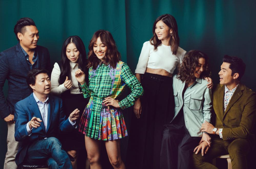 Director Jon M. Chu, left, Ken Jeong, Awkwafina, Constance Wu, Gemma Chan, Michelle Yeoh and Henry Golding (Photo by Rozette Rago).