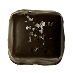 Dark Fleur de Sel Caramel - Luscious caramel with a hint of honey, dipped in dark chocolate with a sprinkle of French sea salt