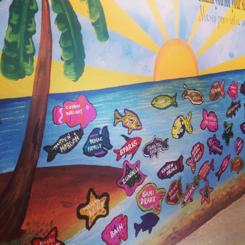 During my stay, I also helped paint parts of the school, which included drawing and painting fish that were dedicated to each of the students.