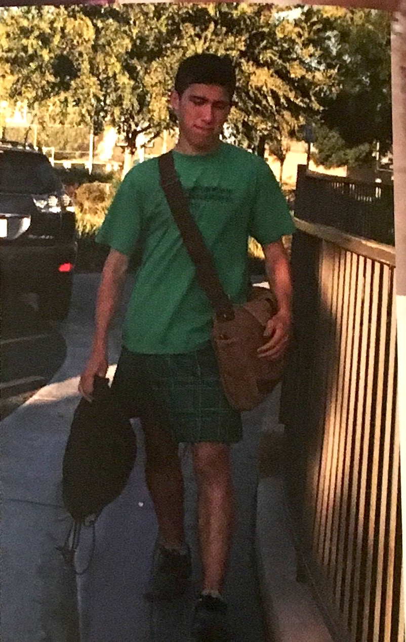Brian Gale wearing a kilt to cross-country practice.