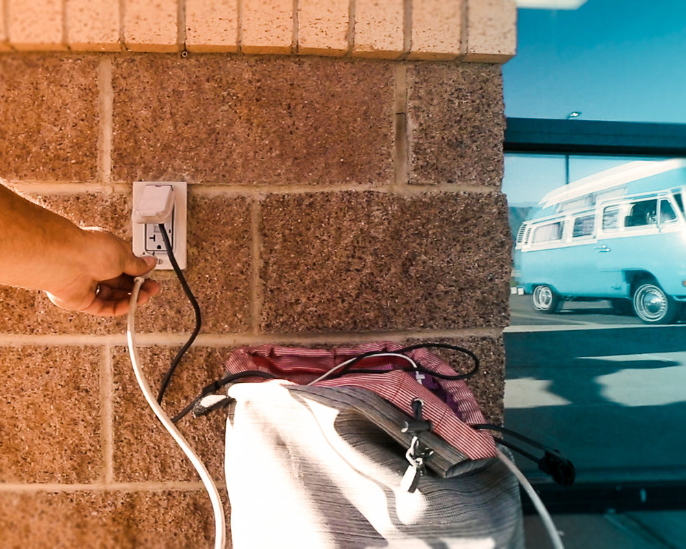 2. POWER - This was helpful before we installed solar panels or on cloudy days when we don't have power. We find outlets outside of buildings to charge our equipment, laptops, and phones. It's like a game to find outlets in public places. I never noticed it before but they're actually everywhere.