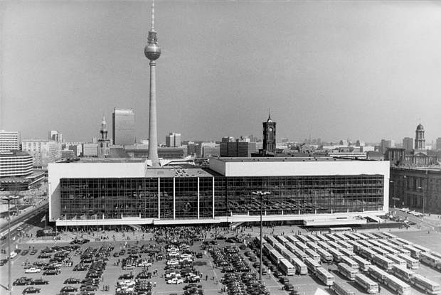 Pictured above is the Palace of the Republic that was built by East Germany upon the ruins of the Berlin Palace (Berliner Stadtschloss), which was damaged in World War II. The Palace of the Republic was demolished in 2006 to make way for a rebuilt Berlin Palace, which will be used house a modern museum containing collections of African and other non-European art, as well as two restaurants,a movie theater, and an auditorium.