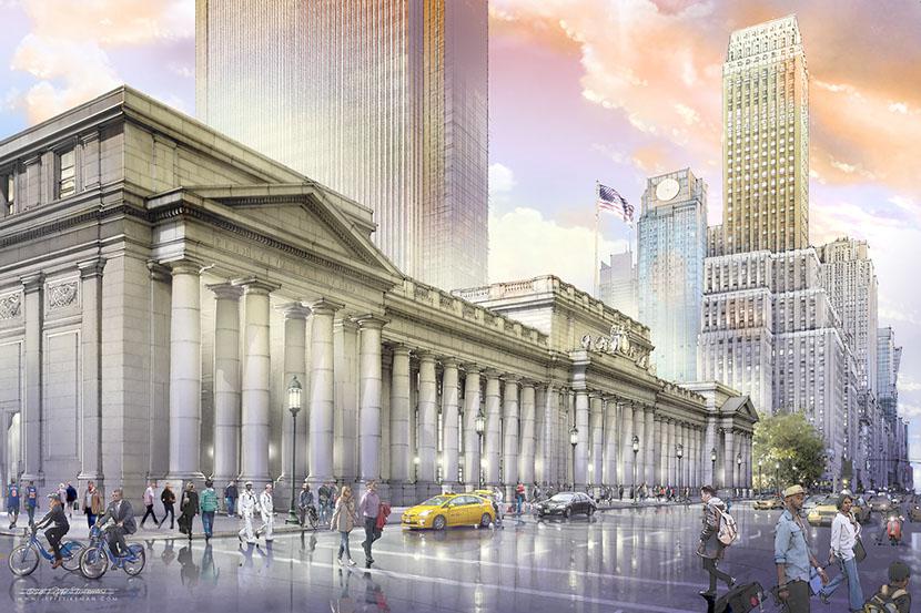 Rebuilt Seventh Avenue portico.(Credit: Jeff Stikeman for Rebuild Penn Station.)