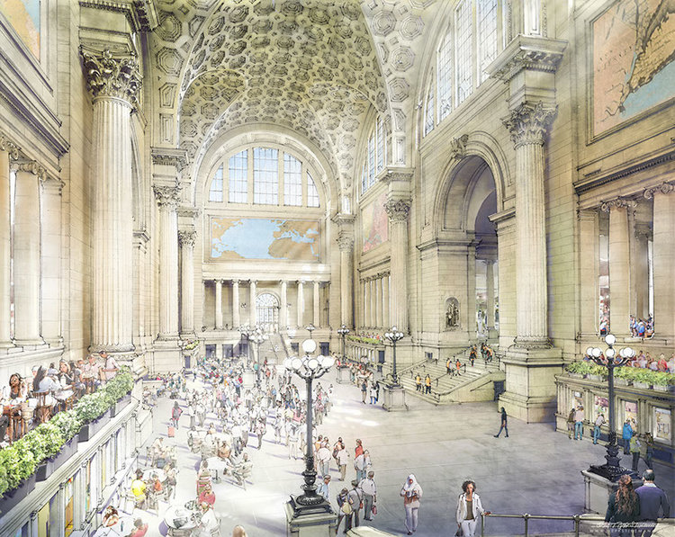Rebuilt, improved main hall.(Credit: Jeff Stikeman for Rebuild Penn Station.)
