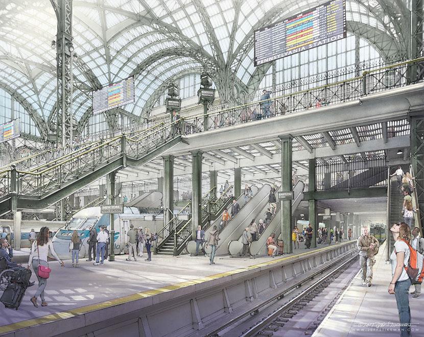 Rebuilt concourse with widened platforms and tripled escalators. (Credit: Jeff Stikeman for Rebuild Penn Station.)
