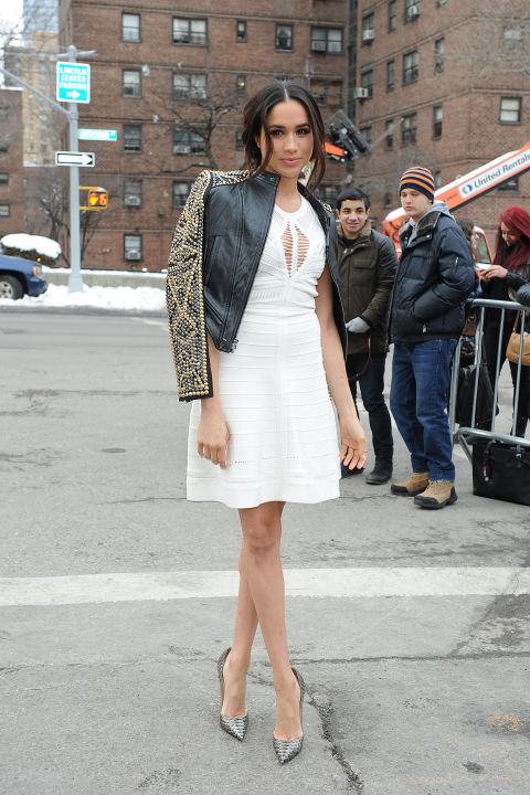 Meghan Markle at the Lincoln Center, February 2014 wearing this white dress and embellished leather jacket.