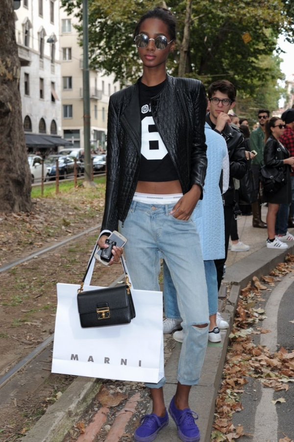 Tami Williams at the  Dolce & Gabbana 2016 S/S  show in Paris wearing a black leather jacket, some distressed jeans and a showing  DSQUARED2  underwear.