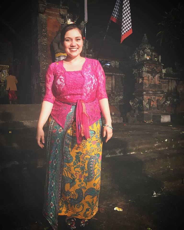 Arts Mission Oak Cliff Member and Performer Celeste Perez in a ceremonial Balinese sarong.
