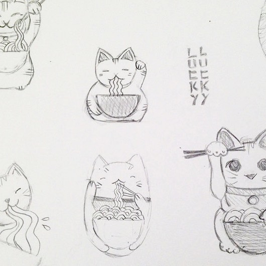 New projects always start with... lots of cat sketches! Well it did for our friends at @luckyluckynoodle 🍜