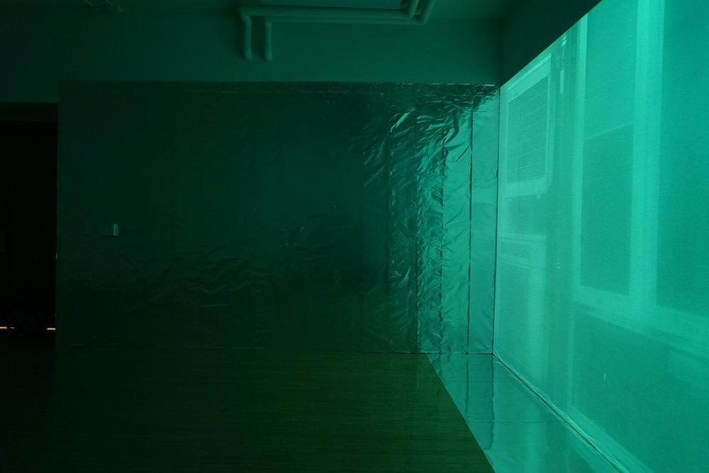 Spring 2016. Twelve-hour video installation and aluminum foil. Solo exhibit. Experimental Gallery, Cornell University.