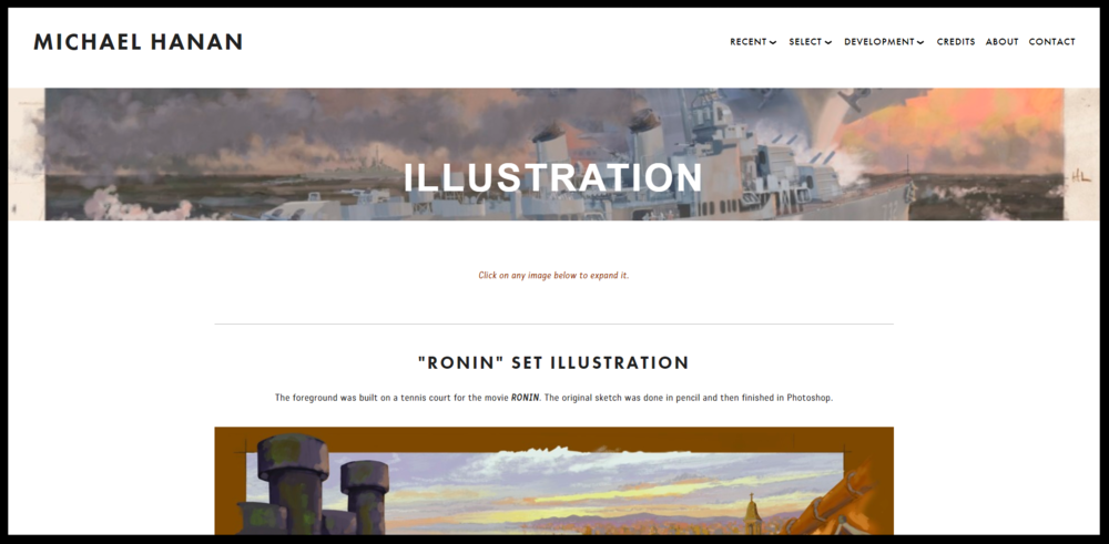 The begining of one of the content pages. This specific page focusing on the clients illustrations