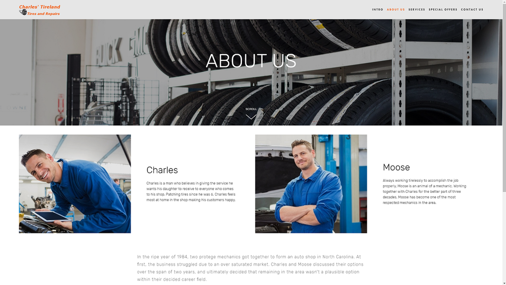 Here we continue to stress how important it is to our customers that their mechanics be experts with a rich history. Giving a story to a shop increases the attractiveness to customers, so we told the story of how the owners opened up.