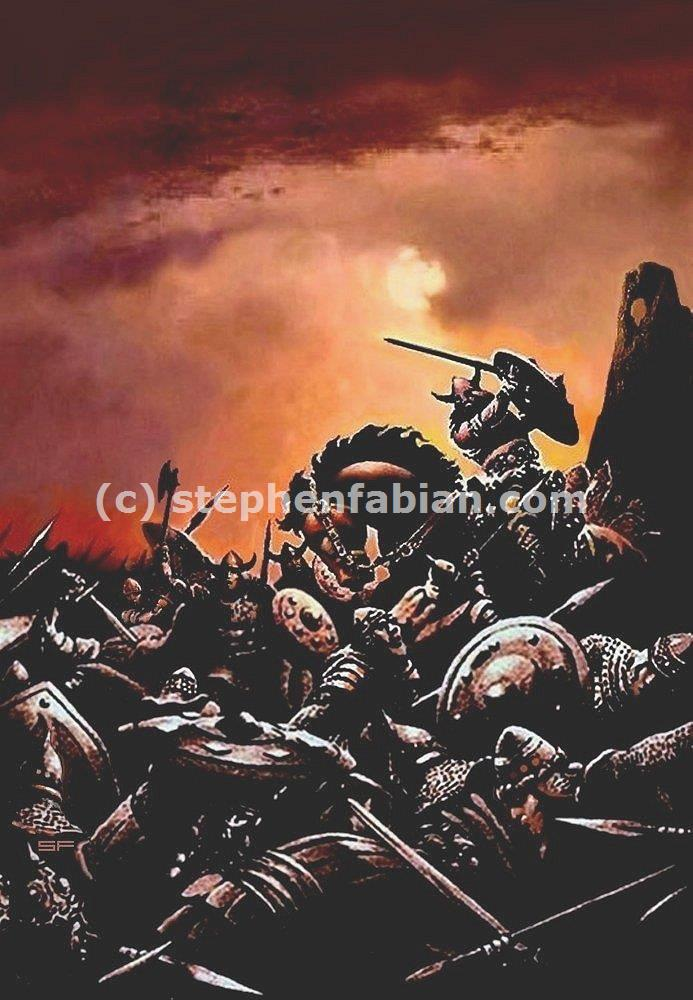 "This unpublished painting from Fabian is entitled ""Battle."" It could depict several battles of the First Age where the Dunedain fought against the minions of Morgoth."