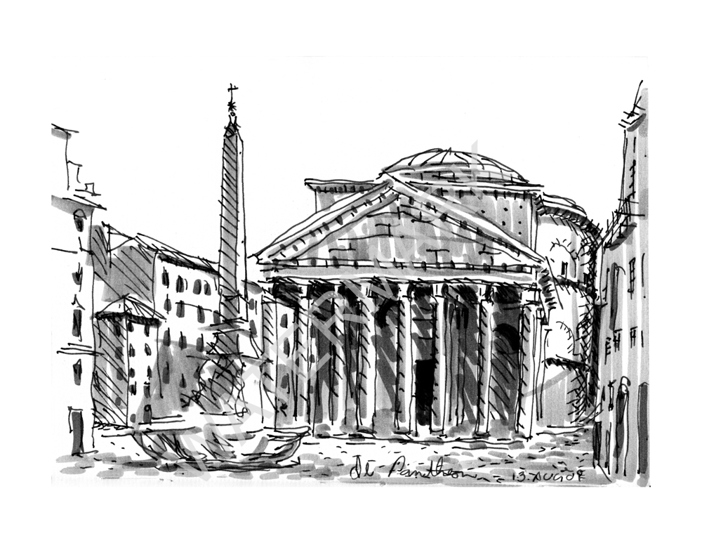 """il pantheon"" sketch available on etsy.com"