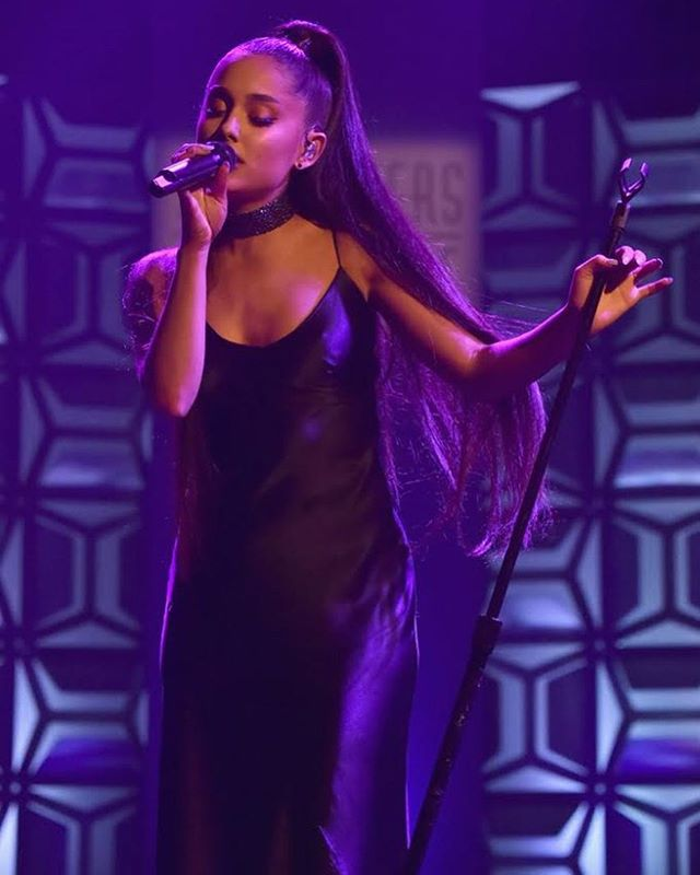 The beautiful and talented Ariana Grande looks stunning wearing our navy Diana silk dress. #beautiful #arianagrande #silkdress #silkmaxi #celebstyle #dress #styleicon #makeup #heels #ponytail #songwritershalloffame #phenomenalwoman #shop #womensfashion #style #lotd