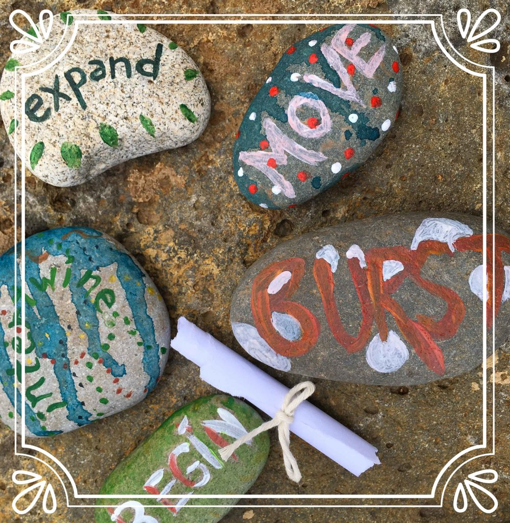 Stones from the Mayday Labyrinth Walk at Sisters Community Labyrinth