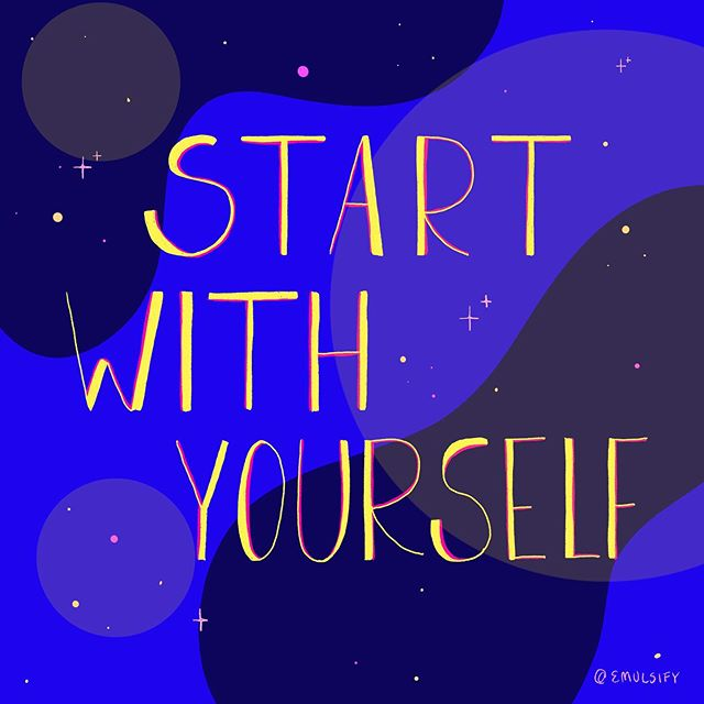 """✨Start with Yourself ✨ this idea has been really present for me the past couple weeks. I've been thinking a lot about what it means to create change and to ignite growth. I feel that often we move with such little room to dream, it can be so hard to envision a different future for ourselves and for our community. a future that doesn't stop at """"enough"""" but pushes through to make our wildest dreams seem possible. it's been important for me to affirm the strength of trusting myself and putting my needs, my dreams, and my desires first. how can we work towards a world where we are all living as our truest selves? a world where we are seen exactly as we want to be seen? for me, it starts from within. it starts by challenging what i think is within reach and what I dismiss as """"too much"""". it starts by allowing myself to envision exactly what I want and to let my words manifest the path I need to follow to get there. how do you make room for your dreams? . . . . . . . . . . . . . #art #artists #qpoc #illustration #emulsifyart  #undocuart #procreate #fromtheheart #love #queerart #arttherapy #enby #feministart  #tender #heal #selfcare #community #r29regram #sketchaday  #illustrationoftheday #femmesofcolor #inspiration"""