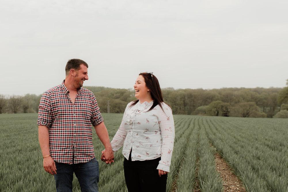 Happy couple in a field
