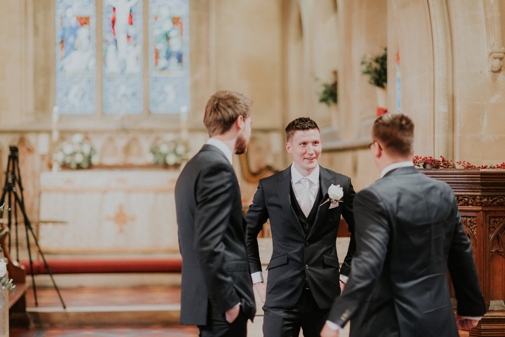 Nick and his boys waiting for Bride Helena to arrive, photographed by Shelley.