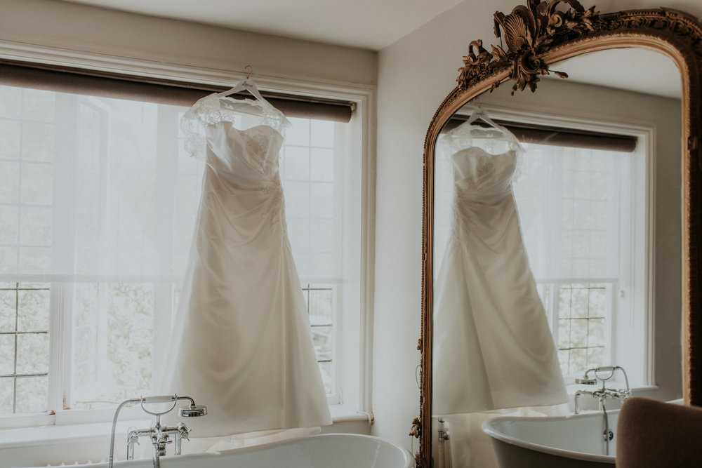 Laura's dress photographed while she was getting ready at the Olde Bell in Hurley.