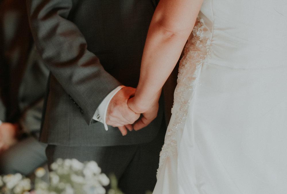 Bride & Groom holding hands Berkshire