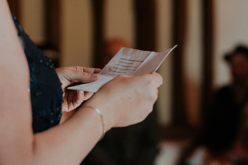 wedding reading in barn