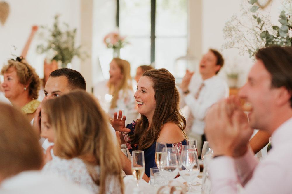 wedding guest laughing Merriscourt