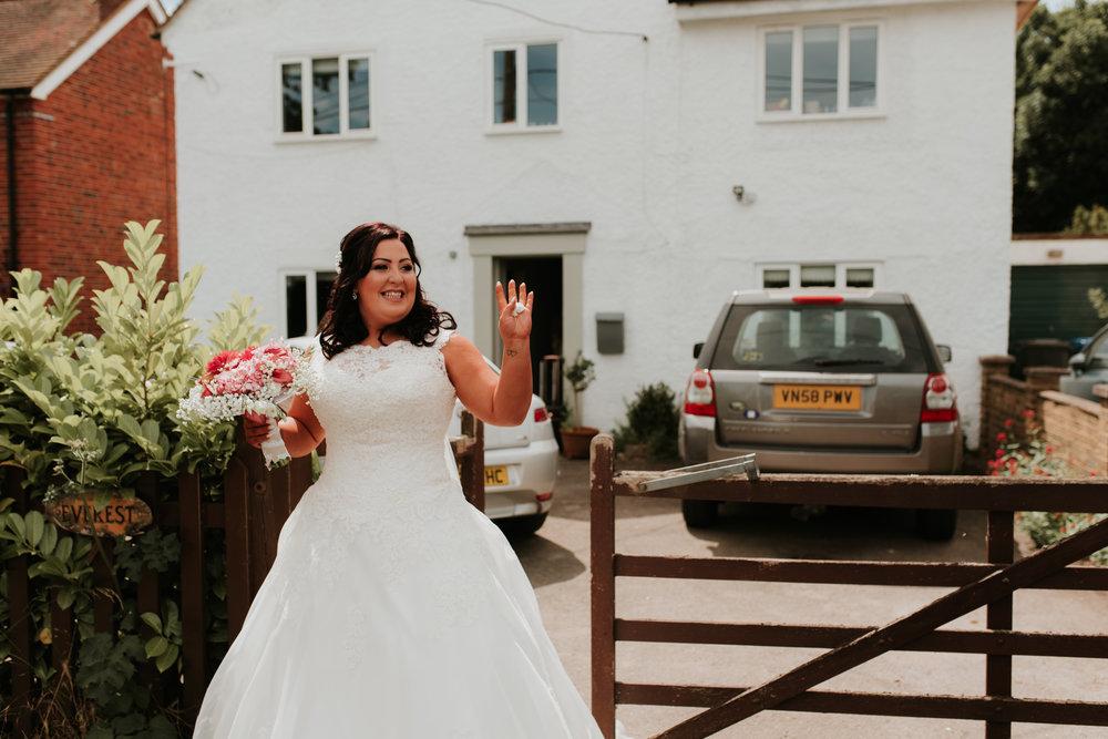 Bride waving Berkshire