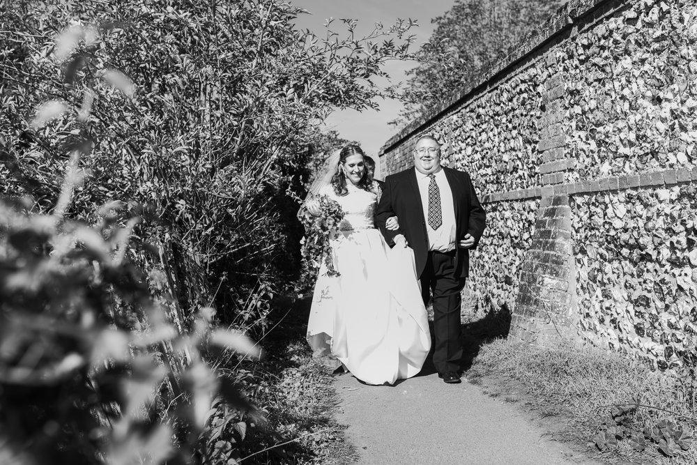 Bride on way to wedding